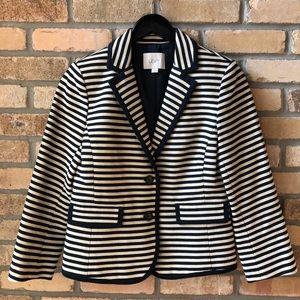 Ann Taylor Loft blazer navy cream stripe